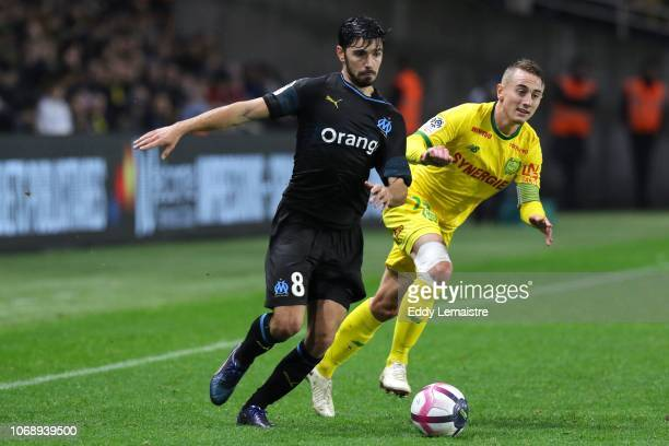Morgan Sanson of Marseille and Valentin Rongier of Nantes during the French Ligue 1 match between FC Nantes and Olympique de Marseille on December 5...