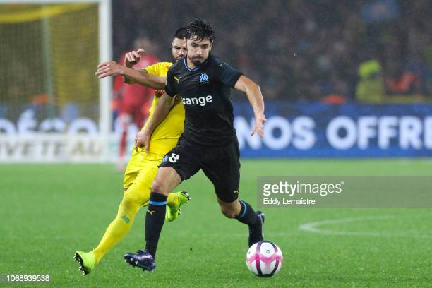 Morgan Sanson of Marseille during the French Ligue 1 match between FC Nantes and Olympique de Marseille on December 5 2018 in Nantes France