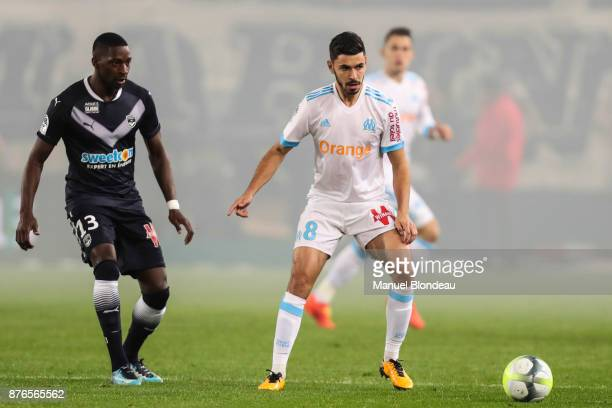 Morgan Sanson of Marseille during the Ligue 1 match between FC Girondins de Bordeaux and Olympique Marseille at Stade Matmut Atlantique on November...