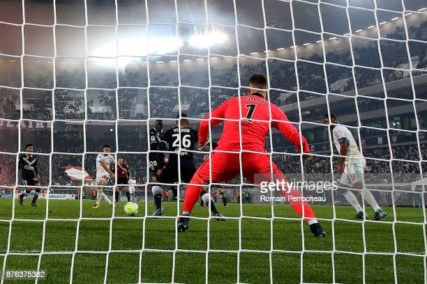 Morgan Sanson of Marseille scores a goal during the Ligue 1 match between FC Girondins de Bordeaux and Olympique Marseille at Stade Matmut Atlantique...