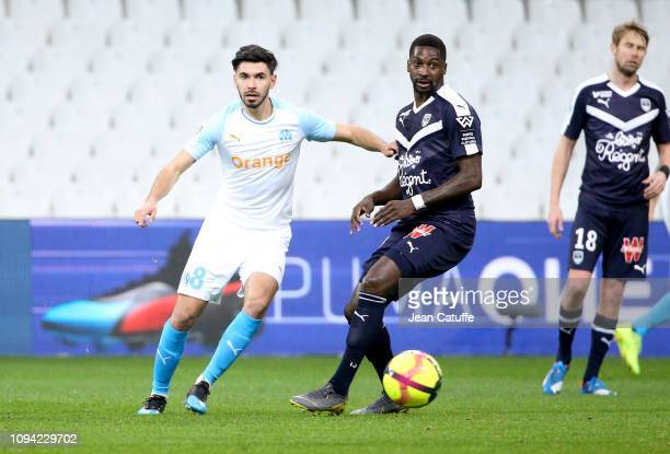 Morgan Sanson of Marseille Younousse Sankhare of Bordeaux during the French Ligue 1 match between Olympique de Marseille and Girondins de Bordeaux at...