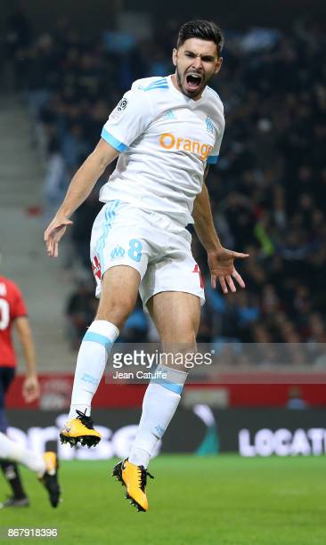 Morgan Sanson of OM celebrates his goal during the French Ligue 1 match between Lille OSC and Olympique de Marseille at Stade Pierre Mauroy on...