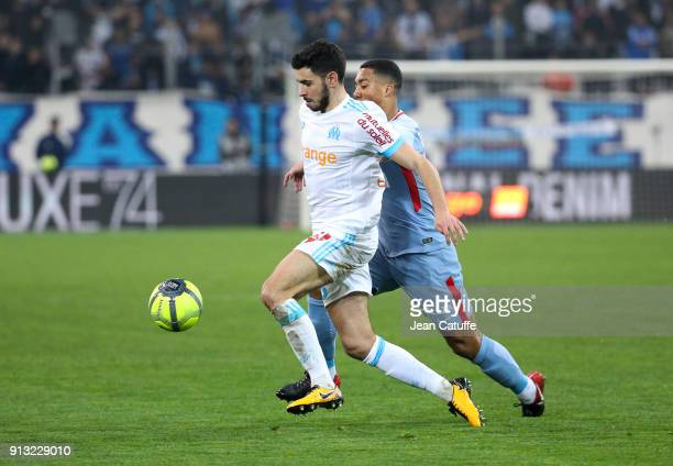 Morgan Sanson of OM Youri Tielemans of Monaco during the French Ligue 1 match between Olympique de Marseille and AS Monaco at Stade Velodrome on...