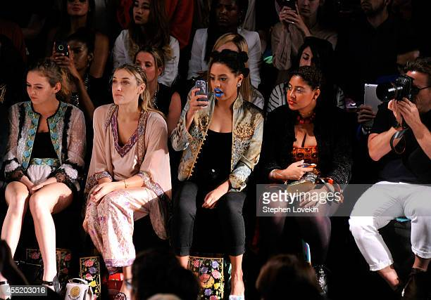 Morgan Saylor, Mia Moretti and Chiara de Blasio attend the Anna Sui fashion show during Mercedes-Benz Fashion Week Spring 2015 at The Theatre at...