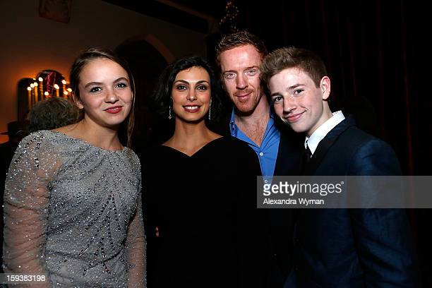 Morgan Saylor Morena Baccarin Damian Lewis and Jackson Pace at Showtime's dinner celebration of The 2013 Golden Globe Nominees held at The Chateau...