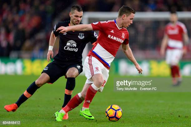 Morgan Schneiderlin and Adam Forshaw challenge for the ball during the Premier League match between Middlesbrough and Everton at the Riverside...