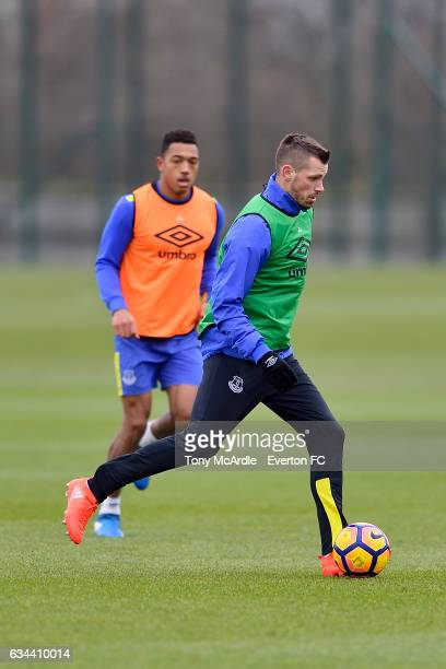 Morgan Schneiderlin and Anton Donkor during the Everton FC training session at USM Finch Farm on February 9 2017 in Halewood England