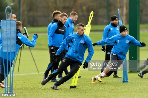 Morgan Schneiderlin and Muhamed Besic during the Everton FC training session at USM Finch Farm on December 29 2017 in Halewood England