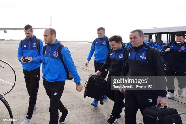 Morgan Schneiderlin and Sandro Ramirez of Everton board the plane to Lyon ahead of their UEFA Europa League match at Liverpool John Lennon Airport on...