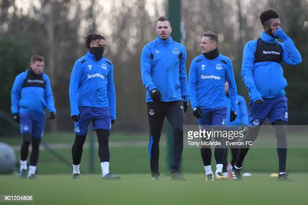 Morgan Schneiderlin and team mates during the Everton training session at USM Finch Farm on January 4 2018 in Halewood England