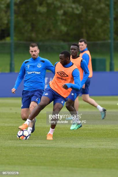 Morgan Schneiderlin and Yannick Bolasie during the Everton FC training session at USM Finch Farm on May 11 2018 in Halewood England