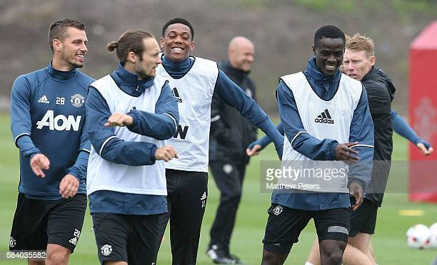 Morgan Schneiderlin Anthony Martial and Eric Bailly of Manchester United in action during a first team training session at Aon Training Complex on...