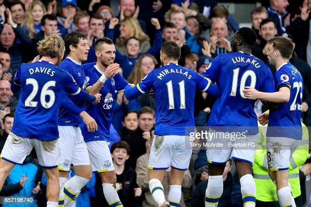 Morgan Schneiderlin celebrates his goal with Tom Davies Ross Barkley Kevin Mirallas Ross Barkley Romelu Lukaku and Seamus Coleman celebrates his goal...
