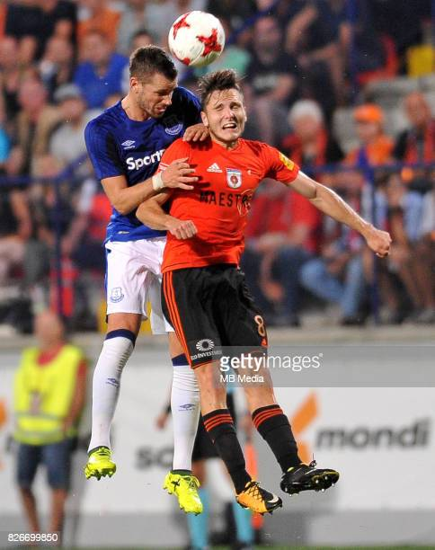 Morgan Schneiderlin Dalibor Takac reacts during the UEFA Europa League Qualifier between MFK Ruzomberok and Everton on August 3 2017 in Ruzomberok...