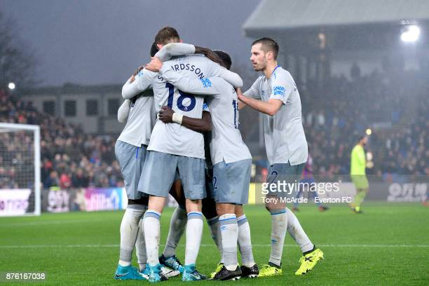 Morgan Schneiderlin joins team mates in celebrating the goal of Oumar Niasse during the Premier League match between Crystal Palace and Everton at...