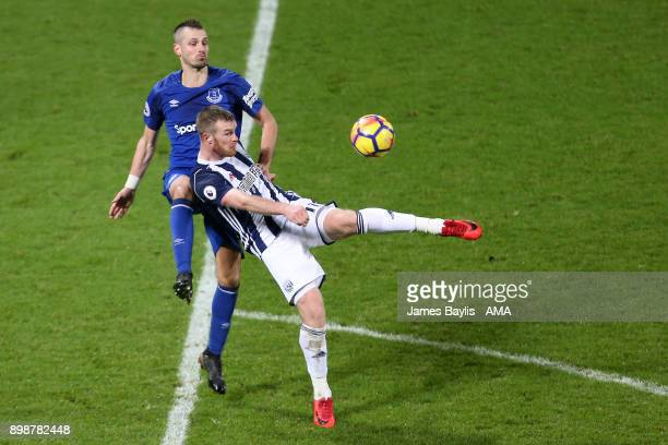 Morgan Schneiderlin of Everton and Chris Brunt of West Bromwich Albion during the Premier League match between West Bromwich Albion and Everton at...