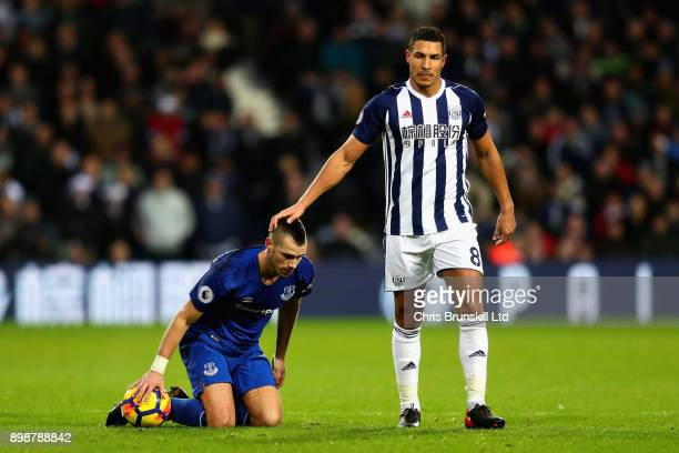 Morgan Schneiderlin of Everton and Jake Livermore of West Bromwich Albion in action during the Premier League match between West Bromwich Albion and...