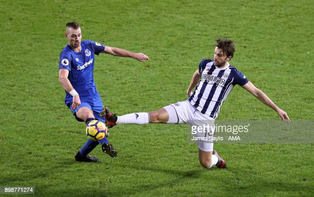 Morgan Schneiderlin of Everton and Jay Rodriguez of West Bromwich Albion during the Premier League match between West Bromwich Albion and Everton at...