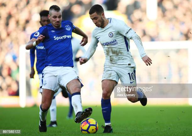 Morgan Schneiderlin of Everton battles for possesion with Eden Hazard of Chelsea during the Premier League match between Everton and Chelsea at...