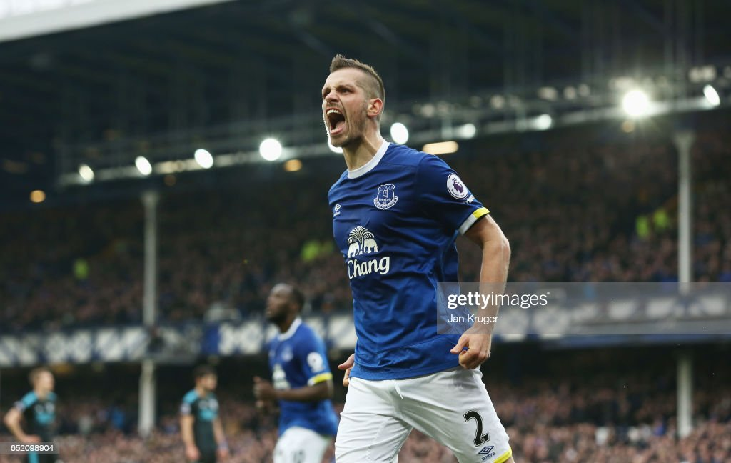 Morgan Schneiderlin of Everton celebrates scoring his sides second goal during the Premier League match between Everton and West Bromwich Albion at Goodison Park on March 11, 2017 in Liverpool, England.