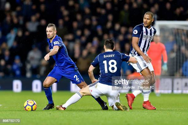 Morgan Schneiderlin of Everton in action against Gareth Barry during the Premier League match between West Bromwich Albion and Everton at The...