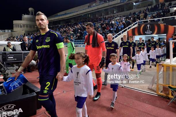 Morgan Schneiderlin of Everton leads out his team during the UEFA Europa League Group E match between Apollon Limassol and Everton at GSP Stadium on...