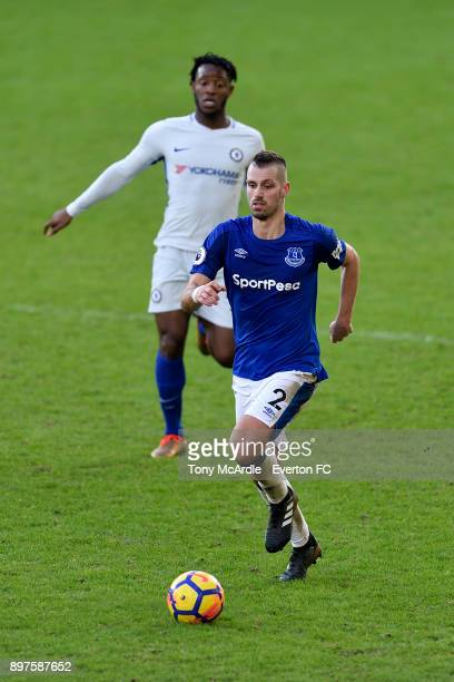 Morgan Schneiderlin of Everton on the ball during the Premier League match between Everton and Chelsea at Goodison Park on December 23 2017 in...