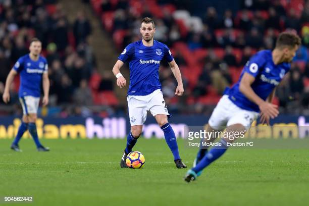 Morgan Schneiderlin of Everton on the ball during the Premier League match between Tottenham Hotspur and Everton at Wembley Stadium on January 13...