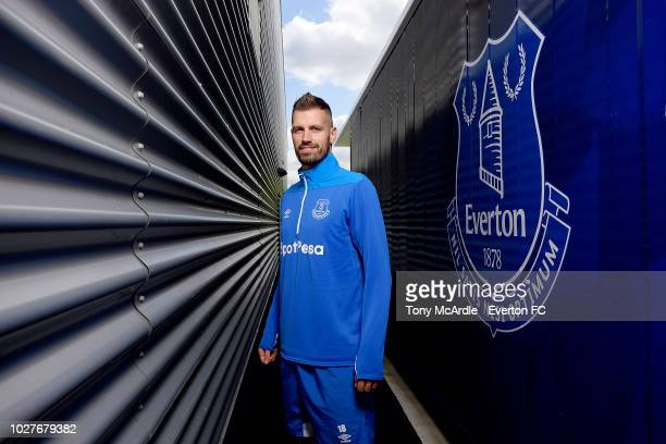 Morgan Schneiderlin of Everton poses for a photo at USM Finch Farm on September 5, 2018 in Halewood, England.