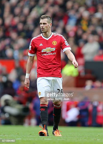 Morgan Schneiderlin of Manchester United during the Barclays Premier League match between Manchester United and Aston Villa at Old Trafford on April...