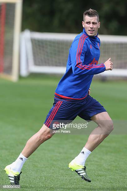 Morgan Schneiderlin of Manchester United in action during a first team training session at Aon Training Complex on August 5 2015 in Manchester England