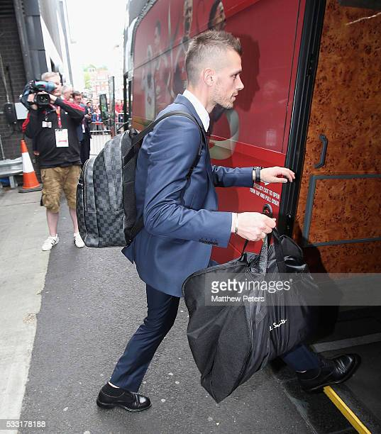 Morgan Schneiderlin of Manchester United leaves the team hotel ahead of The Emirates FA Cup final match between Manchester United and Crystal Palace...