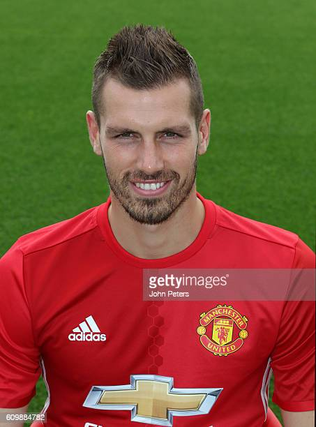 Morgan Schneiderlin of Manchester United poses for a portrait at the Manchester United Official Photocall on September 19 2016 in Manchester England