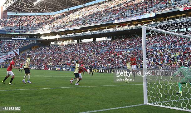 Morgan Schneiderlin of Manchester United scores their first goal during the International Champions Cup 2015 match between Manchester United and Club...
