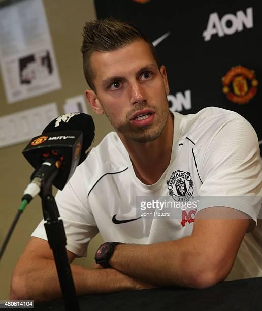 Morgan Schneiderlin of Manchester United speaks during a press conference to unveil Bastian Schweinsteiger Morgan Schneiderlin and Matteo Darmian as...