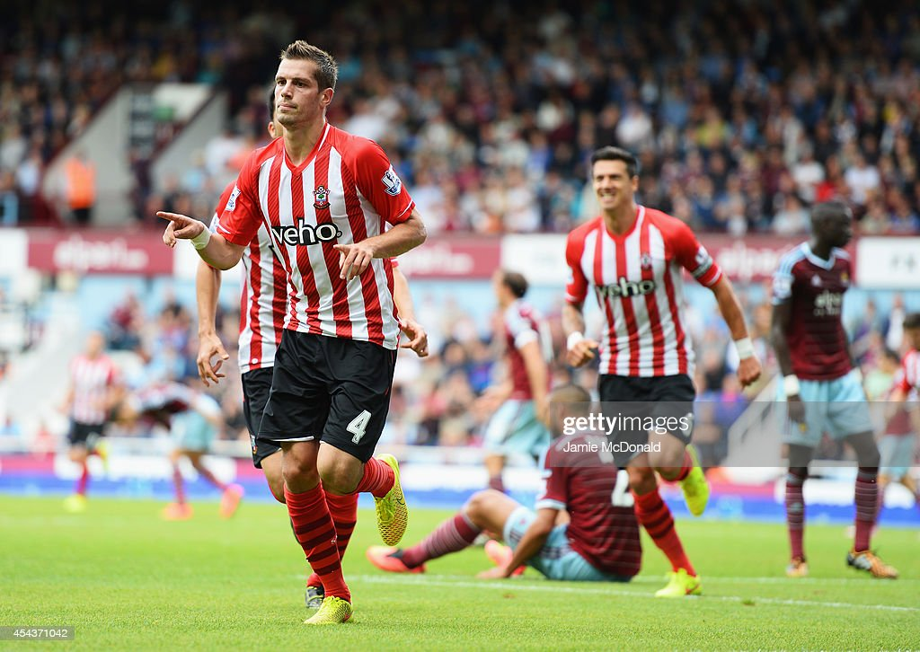 Morgan Schneiderlin of Southampton celebrates scoring the equalising goal during the Barclays Premier League match between West Ham United and Southampton at Boleyn Ground on August 30, 2014 in London, England.