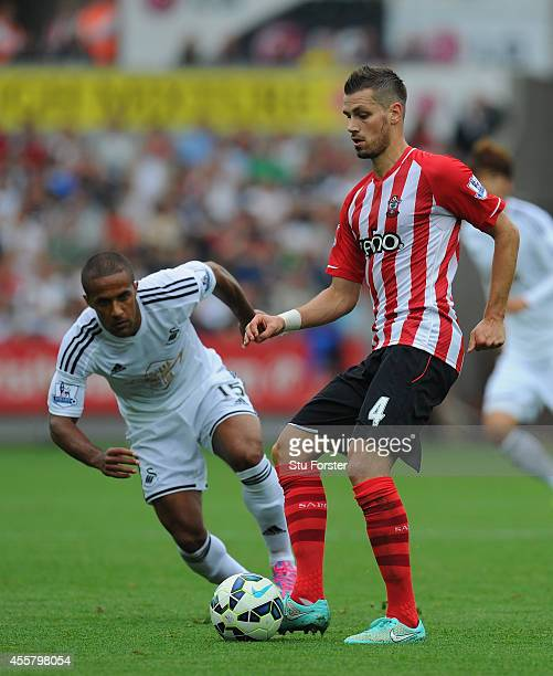 Morgan Schneiderlin of Southampton in action during the Barclays Premier League match between Swansea City and Southampton at Liberty Stadium on...