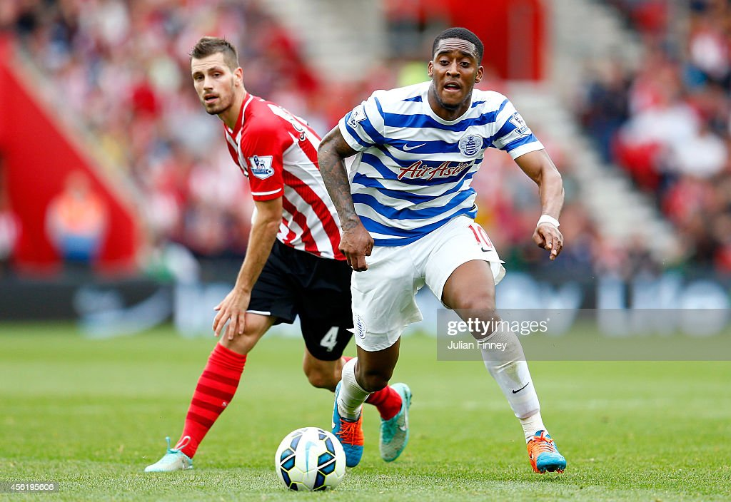 Morgan Schneiderlin (L) of Southampton puts pressure on Leroy Fer of QPR during the Barclays Premier League match between Southampton and Queens Park Rangers at St Mary's Stadium on September 27, 2014 in Southampton, England.