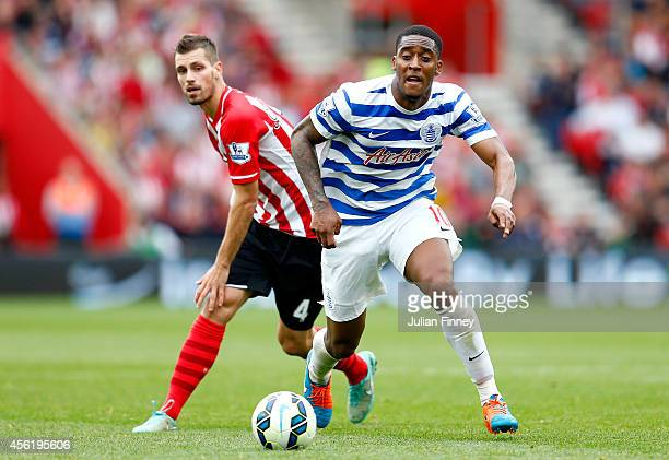 Morgan Schneiderlin of Southampton puts pressure on Leroy Fer of QPR during the Barclays Premier League match between Southampton and Queens Park...