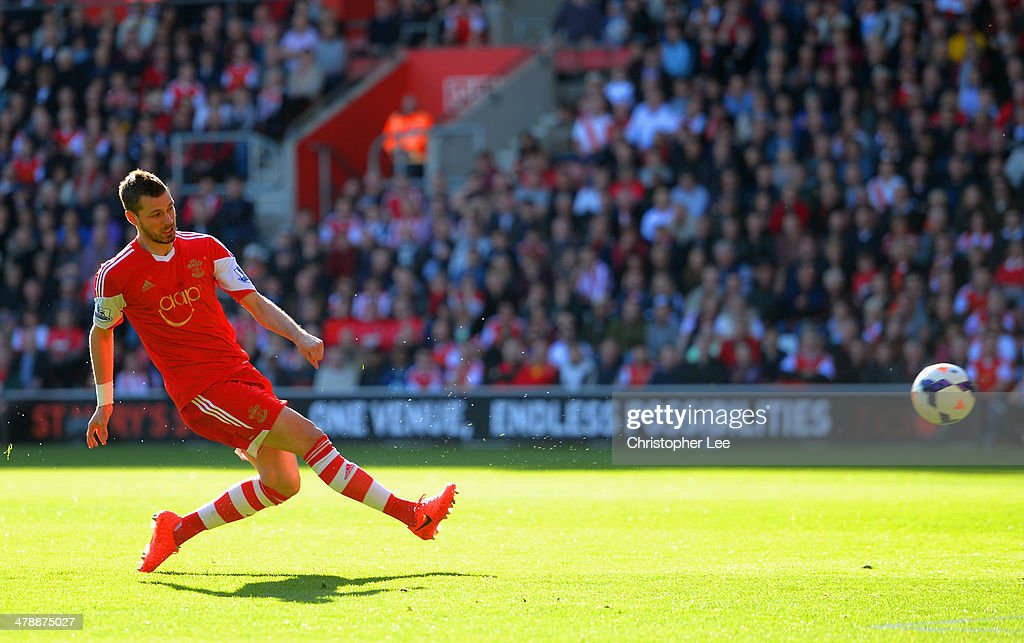 Morgan Schneiderlin of Southampton scores the opening goal during the Barclays Premier League match between Southampton and Norwich City at St Mary's Stadium on March 15, 2014 in Southampton, England.