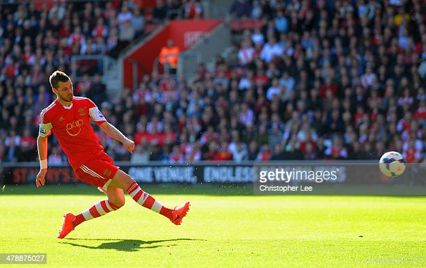 Morgan Schneiderlin of Southampton scores the opening goal during the Barclays Premier League match between Southampton and Norwich City at St Mary's...