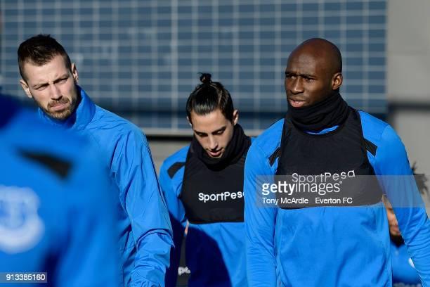 Morgan Schneiderlin Ramiro Funes Mori and Eliaquim Mangala during the Everton training session at USM Finch Farm on February 2 2018 in Halewood...