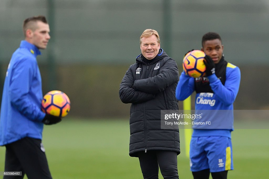 Morgan Schneiderlin Ronald Koeman and Ademola Lookman during the Everton FC training session at USM Finch Farm on January 19, 2017 in Halewood, England.