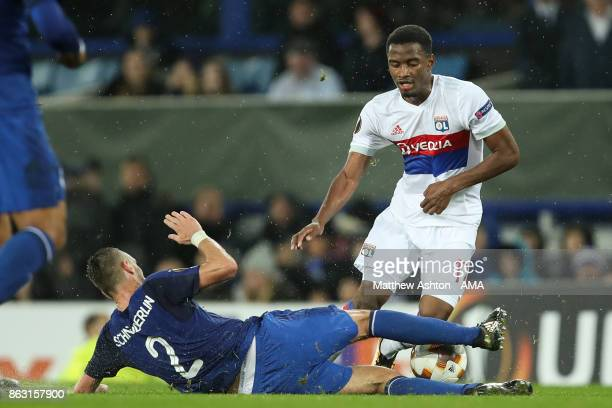 Morgan Schnneiderlin of Everton and Myziane Maolida of Olympique Lyonnais during the UEFA Europa League group E match between Everton FC and...