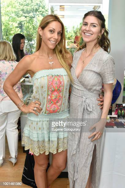 Morgan Shara and Mia Tonelli attend the Hamptons Magazine London Jewelers Host A Luxury Shopping Afternoon at Topping Rose House on July 18 2018 in...