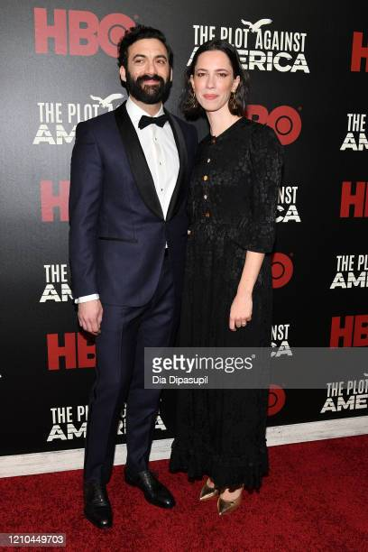 Morgan Spector and Rebecca Hall attend HBO's The Plot Against America premiere at Florence Gould Hall on March 04 2020 in New York City