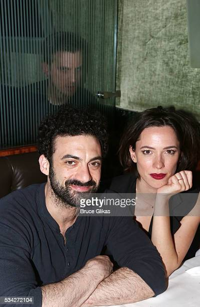 """Morgan Spector, Dan Stevens and Rebecca Hall pose at The Opening Night of MTC's """"Incognito"""" at Brasserie 8 1/2 on May 24, 2016 in New York City."""