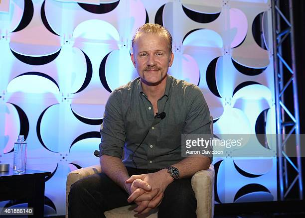 Morgan Spurlock attends 'Storytellers and the Shaping of Pop Culture A Chat with Morgan Spurlock' during the NATPE 2015 Conference at Fontainebleau...