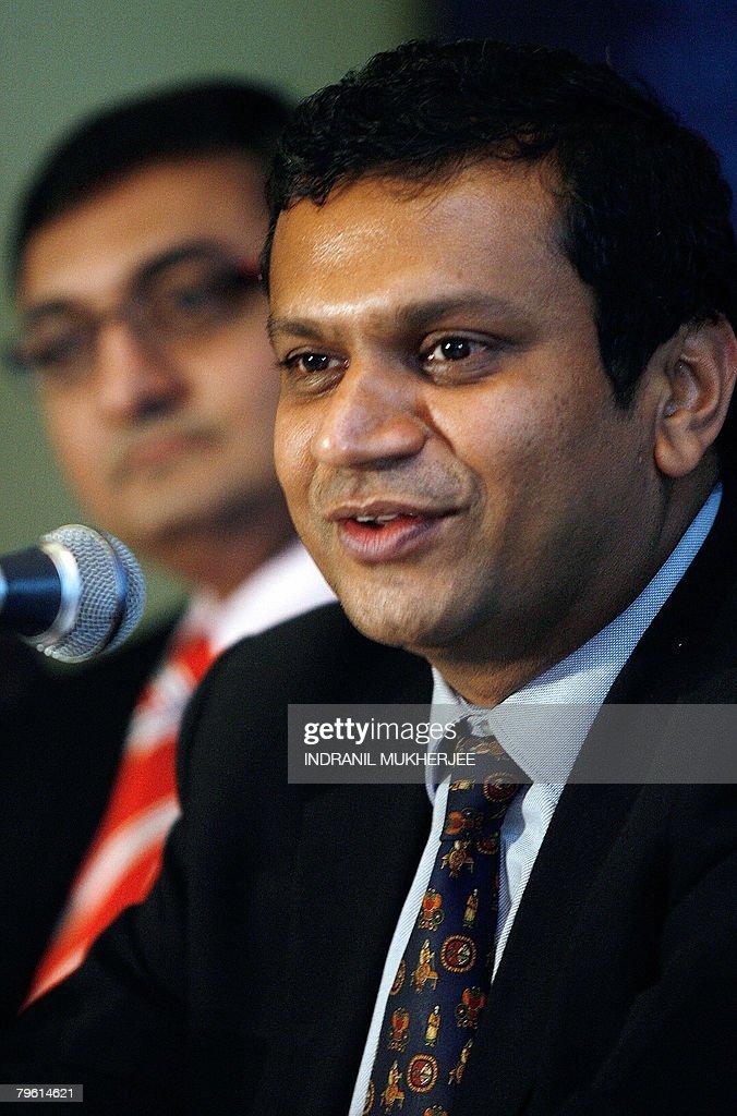 Morgan Stanley India Vice President Jayesh Gandhi looks on as
