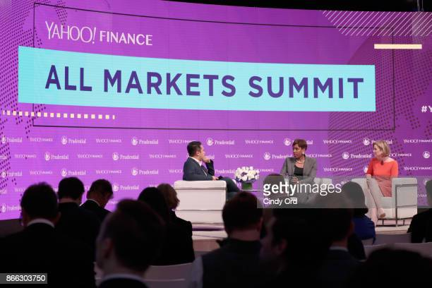 Morgan Stanley Vice Chairman Managing Director Senior Client Advisor Carla Harris and Ellevest CEO and CoFounder Sallie Krawcheck speak onstage while...